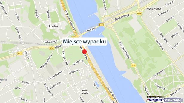 Wypadek na Wisłostradzie Google Maps