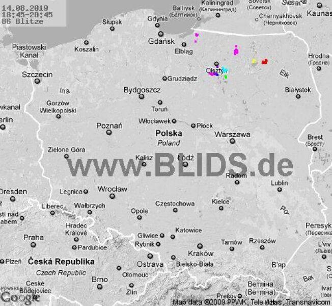 Ścieżka burz nad Polską (18.45-20.45) (blids.de)