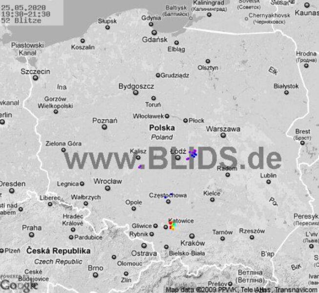Ścieżka burz nad Polską (godz. 19.30-21.30) (blids.de)