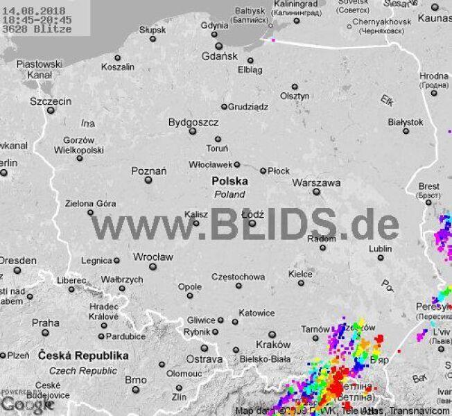 Ścieżka burz w godzinach 18.45-20.45 (blids.de)