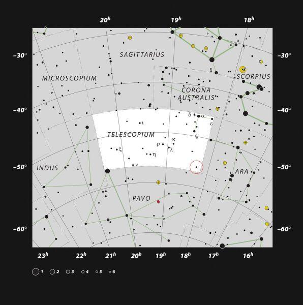 Lokalizacja zespołu HR 6819 (ESO, IAU and Sky & Telescope)