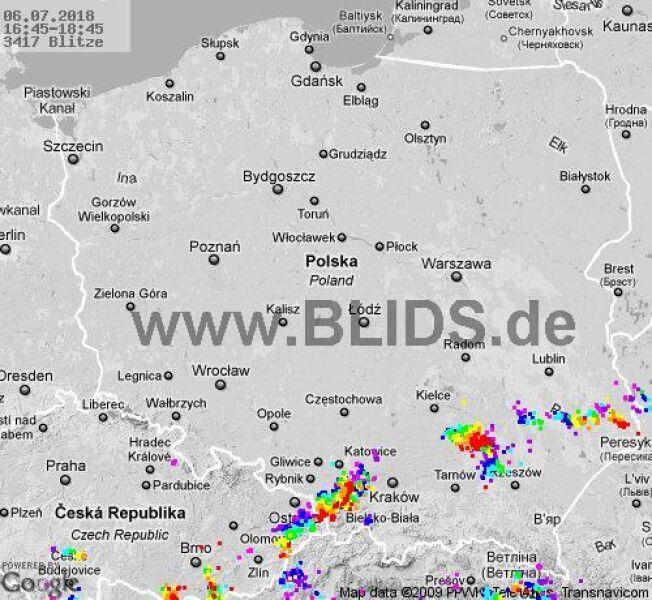 Ścieżka burz w godzinach 16.45-18:45 (blids.de)